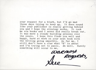 SUE GRAFTON - TYPED LETTER SIGNED 11/29/1992