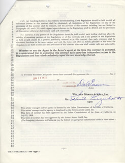 Autographs: DALE EVANS - CONTRACT SIGNED 06/15/1970