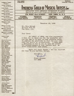 Autographs: FRANK CHAPMAN - TYPED LETTER SIGNED 12/29/1948