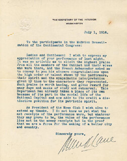 Autographs: FRANKLIN K. LANE - TYPED LETTER SIGNED 07/01/1916