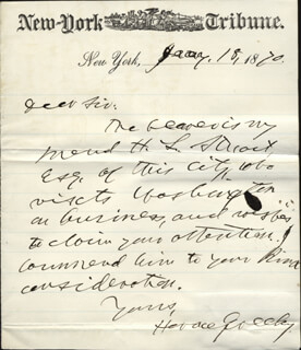 HORACE GREELEY - AUTOGRAPH LETTER SIGNED 01/18/1870