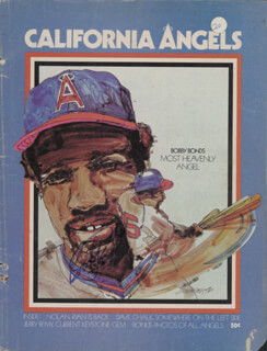 THE CALIFORNIA ANGELS - PROGRAM SIGNED CIRCA 1976 CO-SIGNED BY: DICK WILLIAMS, BOBBY BONDS, BILL MELTON, BRUCE BOCHTE, LEROY B. LEE STANTON, MICKEY SCOTT, SID MONGE, NORM SHERRY, GARY ROSS, ADRIAN PAT GARRETT, ANDY HASSLER, RON JACKSON, BILLY MUFFETT, JERRY REMY, FRANK TANANA, ANDY ETCHEBARREN, DON KIRKWOOD, DON DRYSDALE, DAVE CHALK, NOLAN RYAN, RUSTY TORRES, VERN HOSCHEIT, GROVER RESINGER - HFSID 264410