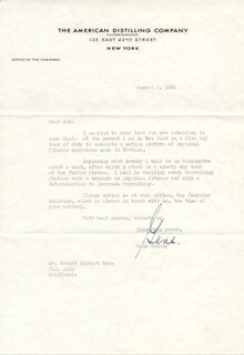 GENE TUNNEY - TYPED LETTER SIGNED 08/04/1941