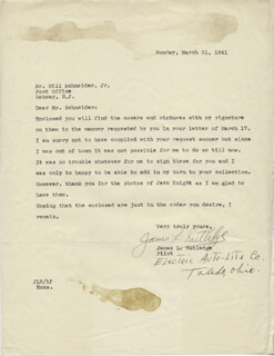 JAMES L. RUTLEDGE - TYPED LETTER SIGNED 03/31/1941