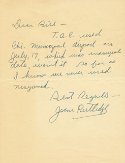 JAMES L. RUTLEDGE - AUTOGRAPH LETTER SIGNED