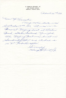 GEORGE D. GRUNDY, JR. - AUTOGRAPH LETTER SIGNED 04/22/1973