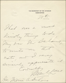 Autographs: FRANKLIN K. LANE - AUTOGRAPH LETTER SIGNED