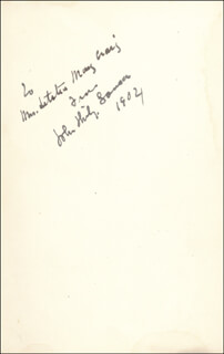 JOHN PHILIP THE MARCH KING SOUSA - INSCRIBED BOOK SIGNED 1904