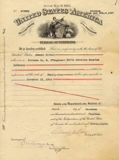 Autographs: FRANKLIN K. LANE - DOCUMENT SIGNED 12/03/1914