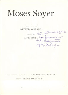 MOSES SOYER - INSCRIBED BOOK SIGNED CIRCA 1970