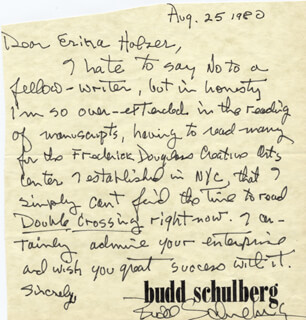 BUDD SCHULBERG - AUTOGRAPH LETTER SIGNED 08/25/1980