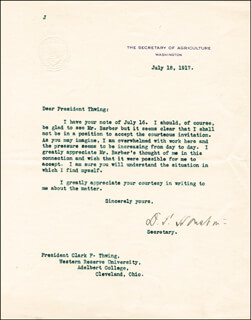 Autographs: DAVID F. HOUSTON - TYPED LETTER SIGNED 07/18/1917