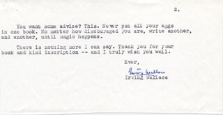 IRVING WALLACE - TYPED LETTER SIGNED 07/14/1983