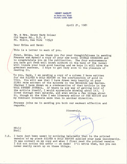HENRY HAZLITT - TYPED LETTER SIGNED 04/21/1981