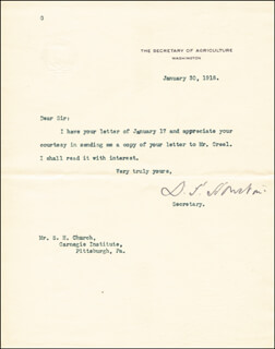 Autographs: DAVID F. HOUSTON - TYPED LETTER SIGNED 01/30/1918
