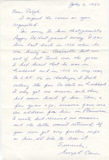 ENOLA GAY CREW (GEORGE R. CARON) - AUTOGRAPH LETTER SIGNED 07/06/1986