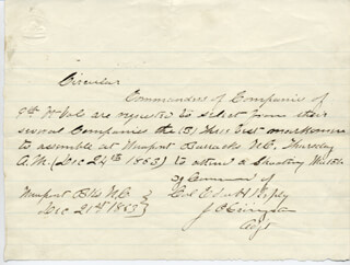 CIVIL WAR - UNION - AUTOGRAPH LETTER SIGNED 12/21/1863 CO-SIGNED BY: J. O. GRINGSTON