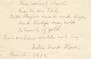 JULIA WARD HOWE - AUTOGRAPH QUOTATION SIGNED 3/1909