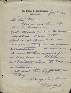 WILLIAM S. HART - AUTOGRAPH LETTER SIGNED 07/03/1929