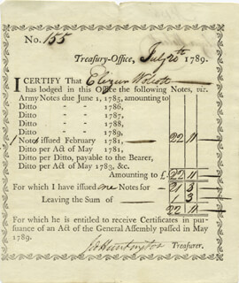 Autographs: GENERAL JEDIDIAH HUNTINGTON - PROMISSORY NOTE SIGNED 07/20/1789