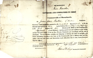 Autographs: LEVI LINCOLN JR. - MILITARY APPOINTMENT SIGNED 09/23/1830 CO-SIGNED BY: EDWARD D. BANGS