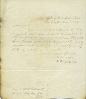GENERAL GEORGE GIBSON - MANUSCRIPT LETTER SIGNED 06/01/1846