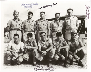 BOCK'S CAR CREW - AUTOGRAPHED SIGNED PHOTOGRAPH CO-SIGNED BY: BOCKSCAR CREW (CHARLES DONALD ALBURY), BOCK'S CAR CREW (RAYMOND GALLAGHER), BOCK'S CAR CREW (JAMES F. VANPELT), ENOLA GAY CREW (JACOB BESER)