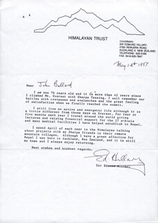 SIR EDMUND P. HILLARY - TYPED LETTER SIGNED 05/14/1997