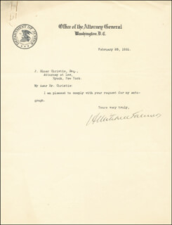 A. MITCHELL PALMER - TYPED LETTER SIGNED 02/25/1921