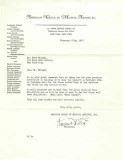 LAWRENCE TIBBETT - TYPED LETTER SIGNED 02/27/1937