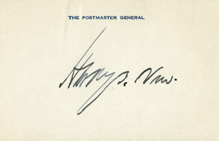 Autographs: HARRY S. NEW - PRINTED CARD SIGNED IN INK