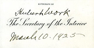 HUBERT WORK - CALLING CARD SIGNED 03/10/1925