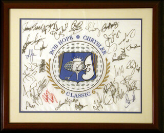 BOB HOPE - FLAG SIGNED CO-SIGNED BY: AMY GRANT, JOHNNY BENCH, TOM KITE JR., GREG MADDUX, JERRY RICE, PETER JACOBSEN, CHIP BECK, MARCUS ALLEN, JOHN DALY, FRED COUPLES, EMMITT SMITH, LEE JANZEN, THE EAGLES (GLENN FREY), VINCE GILL, GLEN CAMPBELL, ARNOLD PALMER, ANDY WILLIAMS, ALAN THICKE, CAROL ALT, JIM FURYK, SCOTT HOCH, SAMUEL L. JACKSON, DAVID DUVAL, JESPER PARNEVIK, OSCAR DE LA HOYA