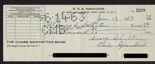 CARLO DON CARLO GAMBINO - AUTOGRAPHED SIGNED CHECK 06/13/1963 CO-SIGNED BY: HENRY SALTZSTEIN, GEORGE SCHILLER