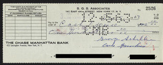CARLO DON CARLO GAMBINO - AUTOGRAPHED SIGNED CHECK 12/05/1963 CO-SIGNED BY: GEORGE SCHILLER
