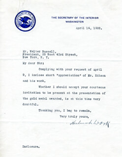 Autographs: HUBERT WORK - TYPED LETTER SIGNED 04/14/1928