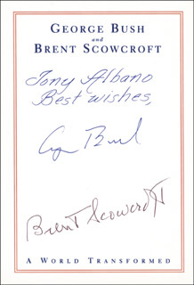 Autographs: PRESIDENT GEORGE H.W. BUSH - INSCRIBED BOOK PLATE SIGNED CO-SIGNED BY: BRENT SCOWCROFT
