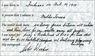 JOHN WOODEN - QUESTIONNAIRE SIGNED
