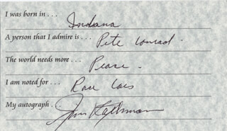Autographs: JIM RATHMANN - QUESTIONNAIRE SIGNED