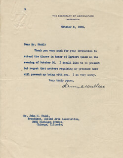 HENRY C. WALLACE - TYPED LETTER SIGNED 10/08/1923