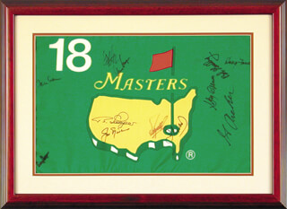 Autographs: JACK NICKLAUS - FLAG SIGNED CO-SIGNED BY: GAY BREWER, CRAIG STADLER, FUZZY ZOELLER, GEORGE ARCHER, IAN WOOSNAM, BILLY CASPER, DOUG FORD, BOB GOALBY, GARY PLAYER