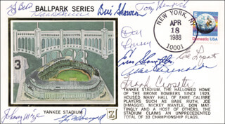 THE NEW YORK YANKEES - COMMEMORATIVE COVER SIGNED CO-SIGNED BY: YOGI BERRA, ALLIE REYNOLDS, BILL MOOSE SKOWRON, FRANK CROSETTI, JOHNNY MIZE, GIL McDOUGALD, TOMMY HENRICH, EDDIE LOPAT, ENOS SLAUGHTER, DON LARSEN, HANK BAUER