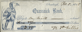 NATHANIEL P. WILLIS - AUTOGRAPHED SIGNED CHECK 02/05/1858