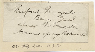 Autographs: MAJOR GENERAL RUFUS INGALLS - SIGNATURE(S)