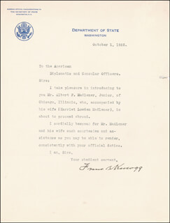 Autographs: FRANK B. KELLOGG - TYPED LETTER SIGNED 10/01/1925