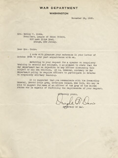 Autographs: DWIGHT F. DAVIS - TYPED LETTER SIGNED 11/15/1926