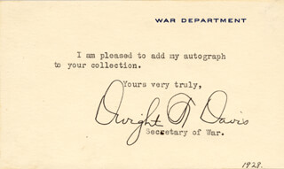 DWIGHT F. DAVIS - TYPED NOTE SIGNED CIRCA 1928