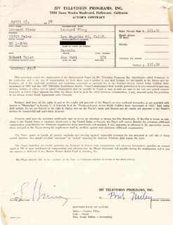 LEONARD NIMOY - DOCUMENT SIGNED 04/15/1958