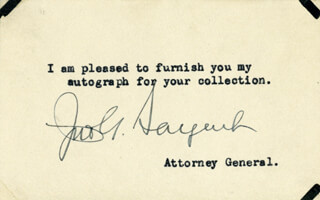 JOHN G. SARGENT - TYPED NOTE SIGNED