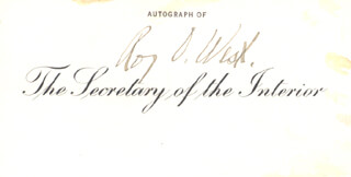 ROY O. WEST - PRINTED CARD SIGNED IN INK